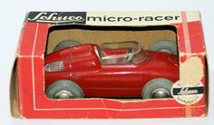 """Vintage Original SCHUCO Wind-up MICRO RACER 1037 PORSCHE FORMEL II Toy Car with Key. Red body with #6 racing number. Measures appx. 4-1/2"""" long and is appx. 1:40 scale. Nice working order. Windup mech"""