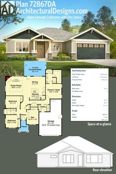Architectural Designs Craftsman House Plan 72867DA has an open concept floor plan and delivers just over 2,000 heated square feet on its one living level. I would widen side of garage and master suite about three feet: