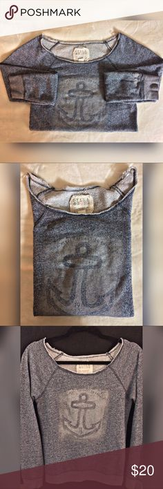 """Billabong Anchored Crewneck BILLABONG """"My Heart Belongs To The Sea"""" Faded Anchor Crewneck Sweatshirt in Heathered Blue/Grey. Great preloved💕 condition - no pulls or pills, just ready for a new home! Tagged a MEDIUM but recommend for sizes XS/S (modeled in picture).   🙌🏽Bundle With Two or More Items for 20% OFF🙌🏽  👉🏽Item ships May 2nd👈🏽 Billabong Tops"""