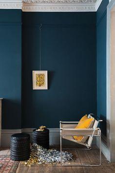 Hague Blue Blue Rooms, Blue Walls, Dark Walls, Interior Paint, Home Interior, Yellow Interior, Interior Designing, Modern Interior, Wall Colors