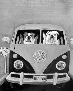 English Bulldog Art Print/ Black & White Vintage by dogwagart, $12.50