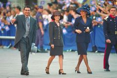 Crown Prince Reza with Wife Princess Yasmine and Mother Shahbanou followed by Officer of the Spanish Royal Guards during Wedding Ceremonies of Crown Prince Felipe of Spain and Laetizia Ortiz, May 22nd 2004.