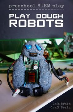 "Upcycle some old computer parts to make these fun ""metal"" play dough robots."