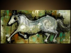 Original Horse Painting - Modern Abstract Art by SLAZO - 24 x 48 - Made To Order