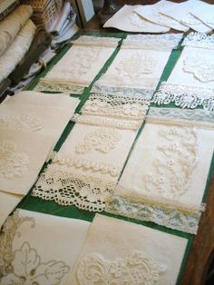 Original pinner sez: On the work table ~ sachets in the making, but nice idea also for fabric book
