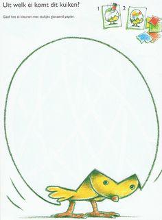 Kuiken & ei; werkblad Painting For Kids, Drawing For Kids, Easter Bunny, Happy Easter, Farm Animal Crafts, Farm Kids, Kindergarten Crafts, Spring Theme, School Themes