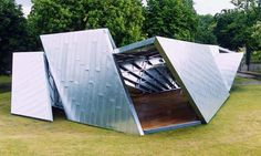 Serpentine Gallery Pavilion 2001 by Daniel Libeskind with Arup. Public Architecture, Interior Architecture, Daniel Libeskind, Deconstructivism, Floating House, Environmental Design, Zaha Hadid, Exterior, Outdoor Structures