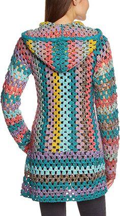 Crochet Patterns Sweaters Khujo - Knitted sweater, with long sleeves for women, color blau (aqua . Crochet Cardigan Pattern, Crochet Jacket, Crochet Poncho, Crochet Patterns, Daily Dress Me, Hippie Crochet, Mode Crochet, Layering Outfits, Crochet Fashion
