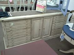 $329 - Vintage 9 drawer dresser or buffet has been painted creamy white and had a dark wax finish hand applied. It has also been distressed.  ***** In Booth C3 at Main Street Antique Mall 7260 E Main St (east of Power RD on MAIN STREET) Mesa Az 85207 **** Open 7 days a week 10:00AM-5:30PM **** Call for more information 480 924 1122 **** We Accept cash, debit, VISA, Mastercard, Discover or American Express