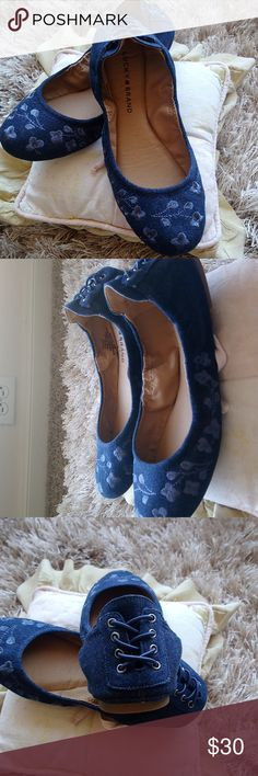 NWOT Lucky Brand denim flats size 8.5 M Adorable embroidered Lucky Brand denim flats with cute lacing detail on heel.  Brand New without tags.  Never wore them because they were slightly too small.  Fits more like an 8. Lucky Brand Shoes Flats & Loafers