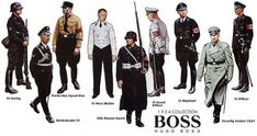 Hugo Ferdinand Boss joined the Nazi Party in two years before Hitler came to power. By the third quarter of the all-black SS uniform (to replace the SA brown shirts) was designed by. Hugo By Hugo Boss, Hugo Boss Trajes, Hugo Boss Suit, Boss Suits, Will Turner, Ww2 Uniforms, Military Uniforms, Moda Masculina