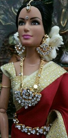 Pretty Saree heavy Jewellery For Indian DOll