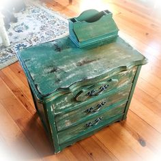 Shabby Chic End Table, chippy paint, green, gold undertones over rustic, stained wood, vintage, farmhouse, refinished nightstand by ReincarnatedwithLove on Etsy https://www.etsy.com/listing/262434902/shabby-chic-end-table-chippy-paint-green