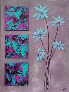 Flowers cyan/magenta
