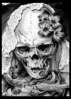 Skull and floral art