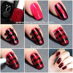Red and Black Plaid Tutorial | Cool and Easy Nail Art and Designs by Makeup Tutorials at http://makeuptutorials.com/easy-nail-art-designs-ideas/