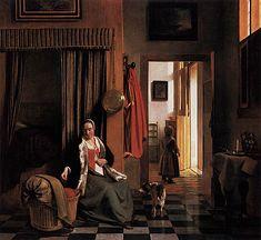 Van de Hooch-Mother Lacing Her Bodic