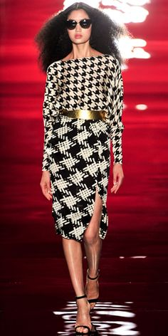 Excuse my language, but this is fucking fabulous......REEM ACRA: Black/white houndstooth top with crosshatch side slit skirt