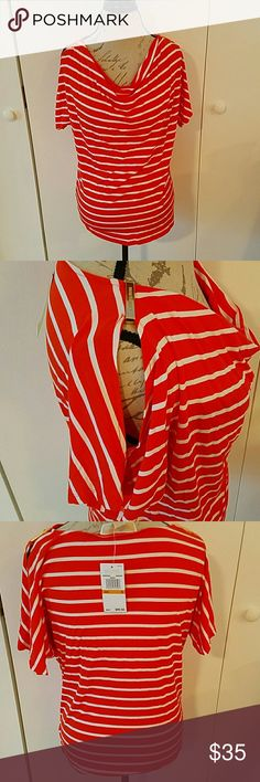 Michael Kors Mandarin stripe top. Peek shoulders. Orange and white stripes short sleeve blouse. Peek a boo shoulders with Gold name plates. Low neck. 95%viscose and 5% elastane. Betsey Johnson Tops Blouses