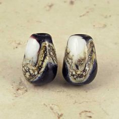 Black and White Teardrop Lampwork Glass Bead Pair by SpawnOfFlame