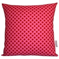 Handmade Pink & Red Polka Dot Cushion