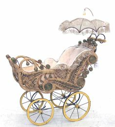 victorian baby carriage | 220: Ornate Victorian Style Baby Carriage : Lot 220