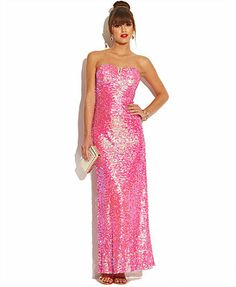 As U Wish Juniors' Strapless Sequin Dress