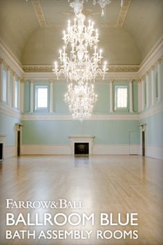 Ballroom Blue, a bespoke colour created for the walls of the Bath Assembly Rooms