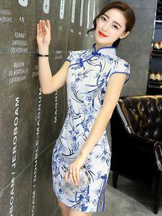 Short Qipao / Cheongsam Dress in Blue Floral Print