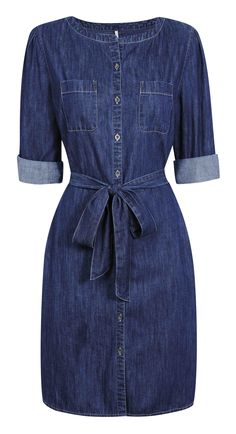 Denim: For the girl who doesn't have to try too hard Denim Fashion, Boho Fashion, Denim Attire, Modest Fashion, Fashion Dresses, Jeans Dress, Denim Dresses, Womens Denim Dress, Fashion Capsule