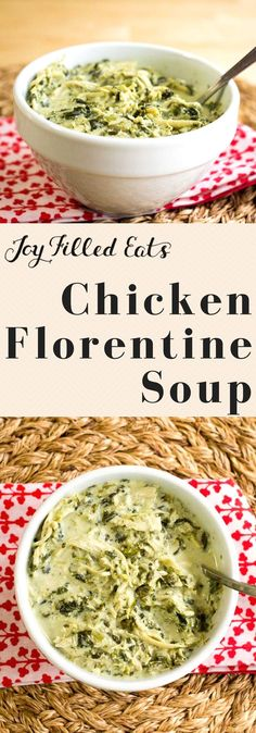 Chicken Florentine Soup - Low Carb, Grain Free, THM S -This light and creamy soup is loaded with chicken and spinach. It is a perfect lunch or dinner on a cold day.     via @joyfilledeats