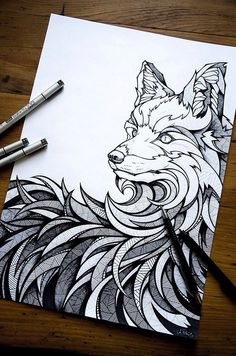 Graphic wolf drawing.