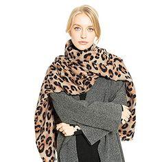 HUHU833 Écharpes châle foulards Femmes hiver chaud léopard longue laine  châle doux foulard au cou long 4cd1d2d7718