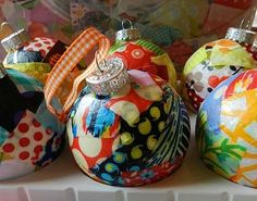 Mod Podge on clear plastic ornaments with scrap fabric simple