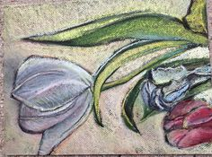 Single White Tulip, spring 2015, pastel on black paper, Stephanie Rose Bird, arts & crafts style
