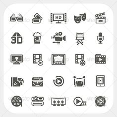 Movie Icons Set ...  button camcorder cinema cinematography clap clapperboard director entertainment film filmstrip glasses icons leisure media motion movie multimedia pictogram play reel screen show simplicity strip studio tape television video