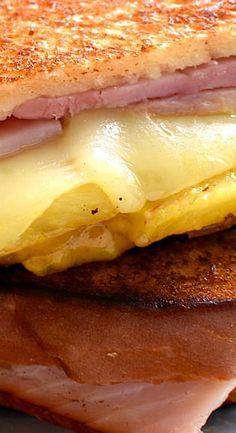 Hawaiian Ham & Cheese Sandwiches are deluxe grilled cheese sandwiches. This grilled sandwich recipe is a delicious twist on a basic ham & cheese sandwich. Grilled Ham Steaks, Grilled Ham And Cheese, Ham Recipes, Brunch Recipes, Sandwich Shops, Sandwich Board, Grilled Sandwich Recipe, Monte Cristo Sandwich, Hawaiian Luau