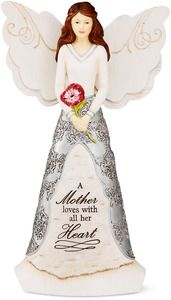 """Mother by Elements - 8"""" Angel holding Flower"""