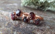 Raw gemstone ring by howlingwolfjewellery on Etsy