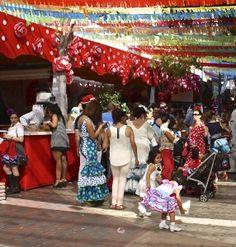Colorful streets of Nerja, Fiesta atmosphere