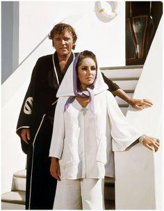 Elizabeth Taylor & Richard Burton on the set of Boom (1968)