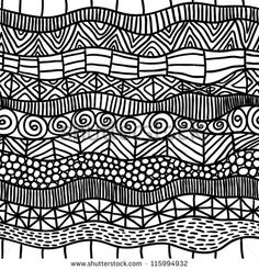 abstract black and white ethnic seamless pattern - stock vector