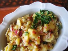 Authentic German Potato Salad #WeekdaySupper. Find more family-friendly recipes at www.sundaysuppermovement.com.