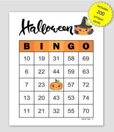 Halloween Bingo Cards, 200 cards, 1 per page, immediate pdf download Bingo Cards To Print, Custom Bingo Cards, Halloween Bingo Cards, Halloween Party, Bingo Calls, Bingo Patterns, Family Games, Party Games, Fundraising
