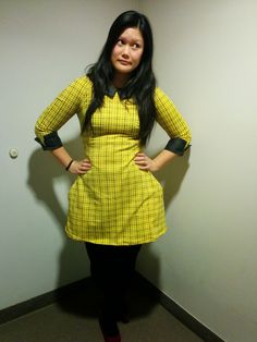Francoise dress from Tilly and the buttons. Yellow and black fabric with black collar and cuffs.