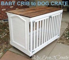 Dog Crate A nicer looking dog crate made from a baby crib. or bunnies/chickens. Dog Crate A nicer looking dog crate made from a baby crib. or bunnies/chickens… Dog Crate A n Old Baby Cribs, Baby Crib Diy, Old Cribs, Baby Bedding, Portable Dog Kennels, Crate Side Table, Mens Bedding Sets, Diy Dog Crate, Diy Dog Bed