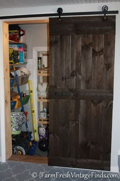 How to Build a Barndoor under $20 for the bathroom to add space.  Might be possible to use existing door.