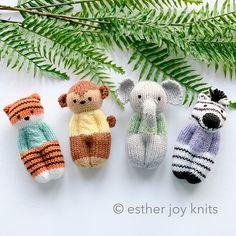 Jungle Buddies - Ravelry: Jungle Buddies pattern by Esther Braithwaite - Baby Knitting Patterns, Knitted Doll Patterns, Knitting For Kids, Loom Knitting, Knitting Projects, Crochet Patterns, Knitting Toys, Knitting Bear, Knitted Dolls Free