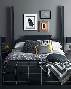 15 Tips for Interior Decorating with Bright Red Color Accents or Dark Room Colors Black And Grey Bedding, Black And Grey Bedroom, Gray Bedding, Black Comforter, Bedroom Yellow, Bedroom Colors, Modern Bedroom Decor, Home Bedroom, Master Bedroom