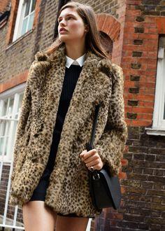 Abrigo leopardo pelo -  Mujer   MANGO